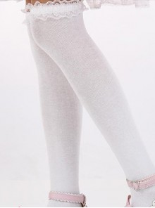 Lovely White Lace Sweet Lolita Knee Stockings
