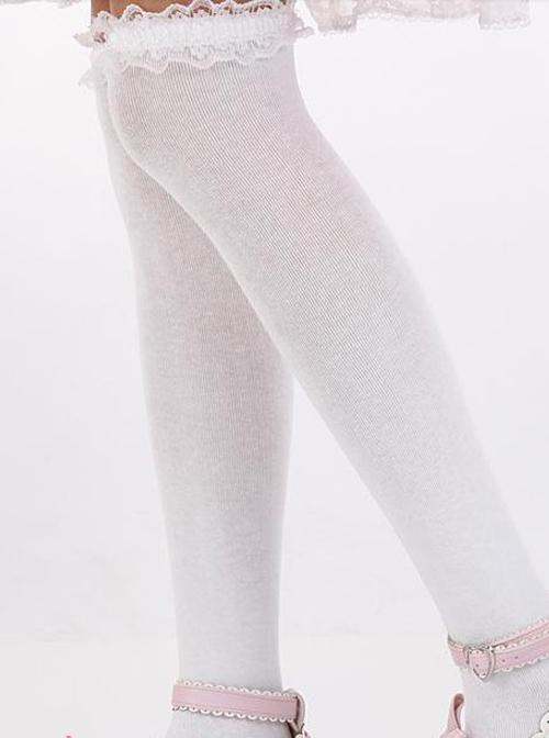 Lovely White Lace Sweet Lolita Knee Stockings