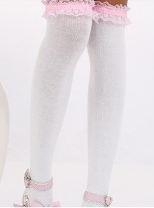 White Fashion Lovely Pink Lace Sweet Lolita Knee Stockings