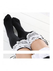 White Lace Black Lovely Slim Lolita Knee Socks