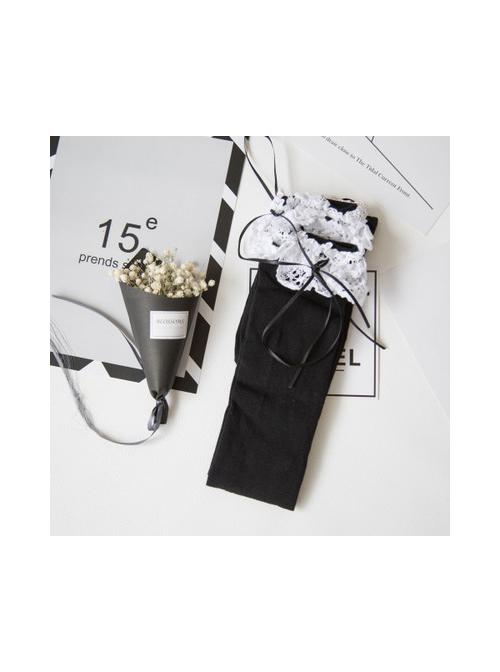 White Lace Black Lovely Slim Lolita Knee Socks