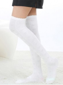 Stylish Elegant Retro Lovely White Embossing Lolita Knee Stockings