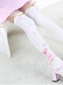 Pink Fashion Cute Bear Pattern Lolita Knee Socks