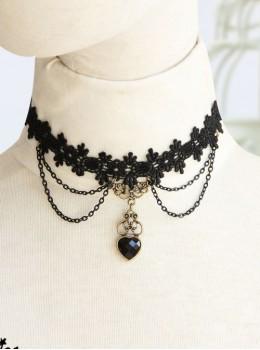 Fashion Black Lace Sweet Peach Heart Lolita Necklace