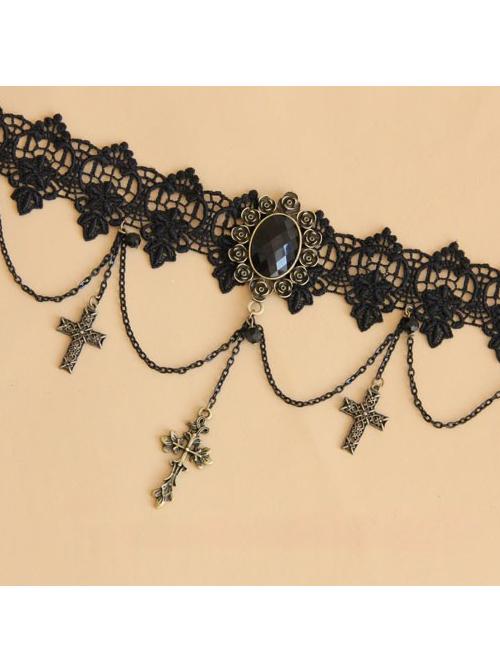 Fashion Black Lace Bronzing Crucifix Lolita Necklace