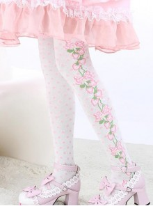 Pink Strawberry Lovely White Fashion Sweet Lolita Knee Stockings