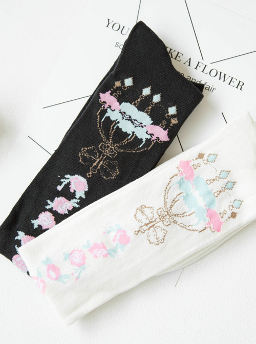 Pure Cotton Bowknot And Crown Pattern Lolita Tight Stockings