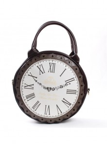 Dark Brown Retro Clock Prototype Lace Lolita Handbag