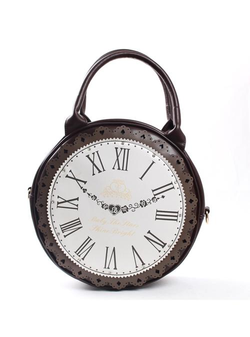 Dark Brown Retro Clock Prototype Lace Lolita Handbag