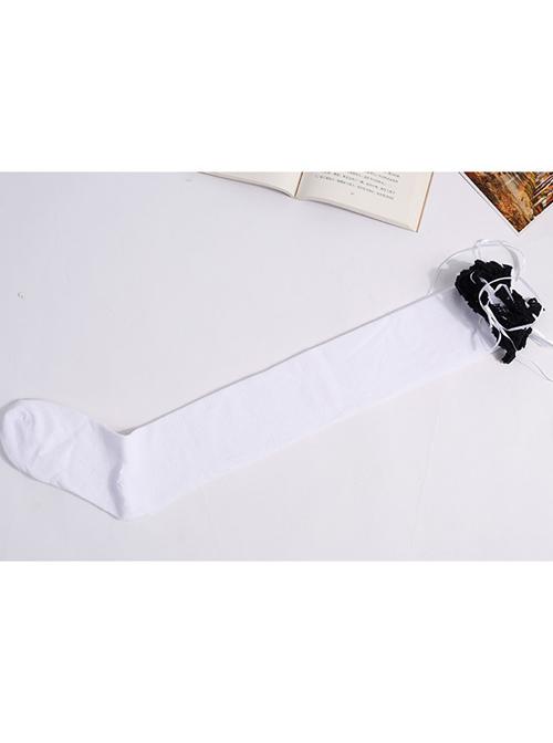 Black Lace White Lovely Slim Sweet Lolita Knee Stockings
