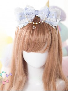 White Cat Ears Pearl Lace Bowknot Bead Chain Sweet Lolita Head Band