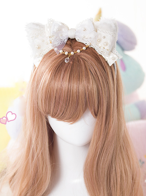 White Cat Ears Pearl Lace Bowknot Bead Chain Sweet Lolita Head Band