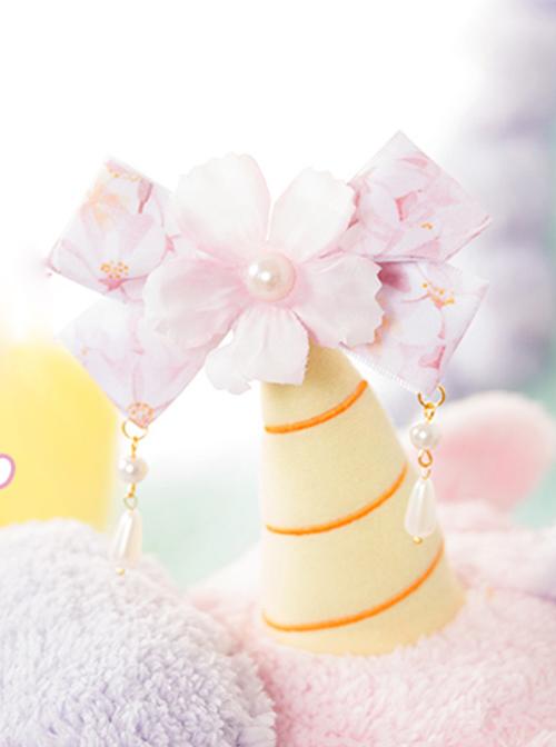 Floral Bowknot Pearl Pendant Sweet Lolita Hairpin
