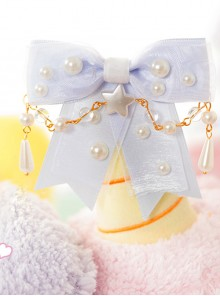 Pearl Bowknot Little Star Pearl Chain Sweet Lolita Hairpin