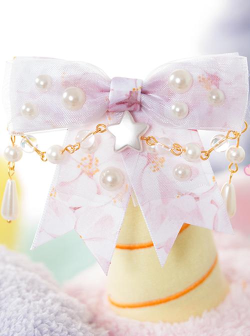 Pearl Bowknot Little Star Pearl Chain Sweet Lolita Hairpin