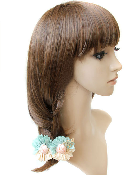Sweet Light Yellow And Mint Color Mixed Color Flower Lolita Hairpin