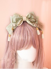 Japanese Style Light Green Bowknot Tassel Pendant Lolita Head Band