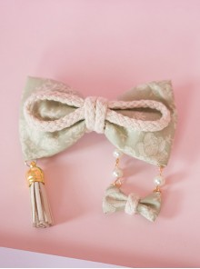 Japanese Style Light Green Bowknot Swing Pendant Lolita Hairpin