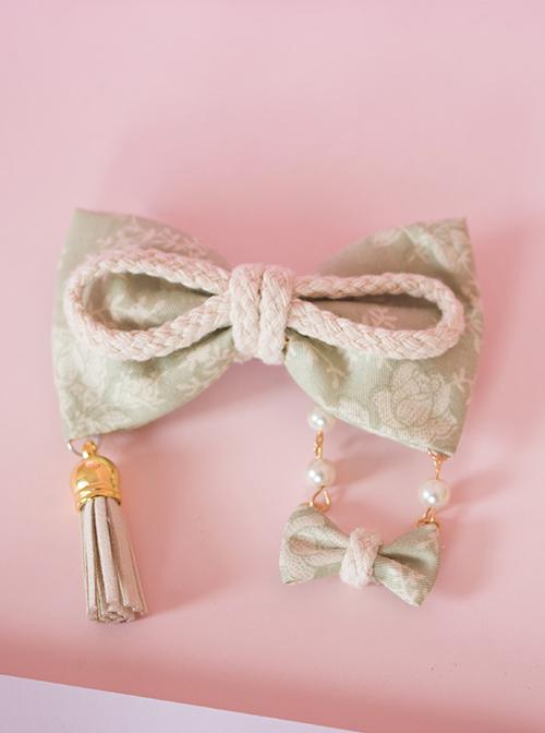 Japanese Style Light Green Bowknot Swing Pendant Lolita Hairpin