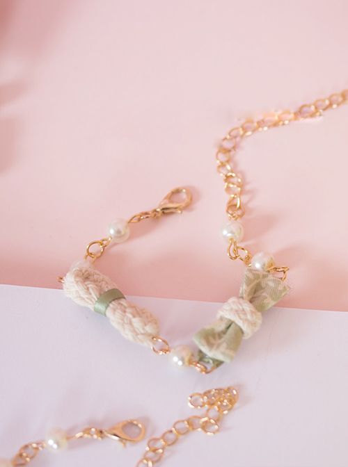 Japanese Style Light Green Small Bowknot Lolita Hand Chain
