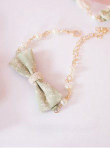 Japanese Style Light Green Big Bowknot Lolita Hand Chain