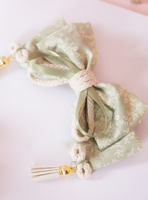 Japanese Style Light Green Big Bowknot Tassel Pendant Lolita Hairpin