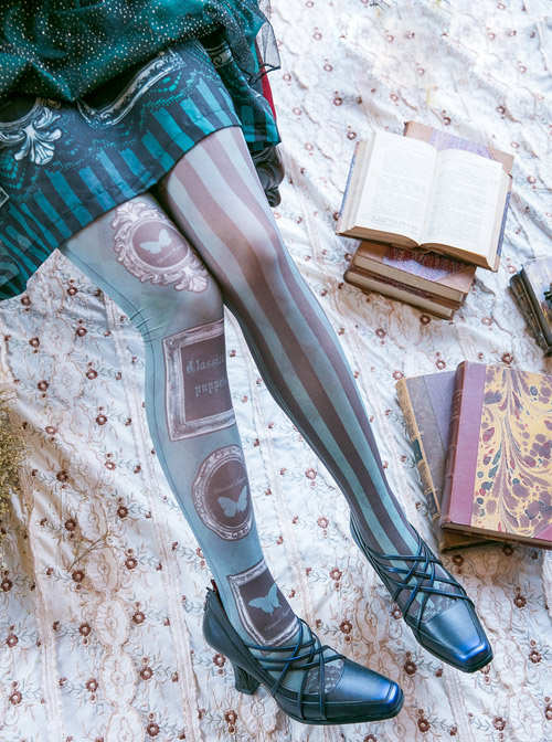 Obsidian Butterfly Dance Series Thin Printed Pantyhose