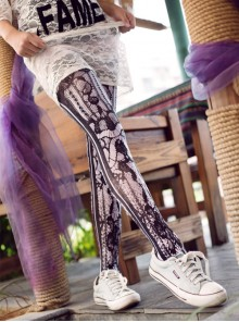 Punk Gothic Black Lace Printing Lolita Pantyhose