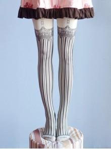 Sweet Gothic Milky White And Black Stripe False Sling Printing Lolita Pantyhose