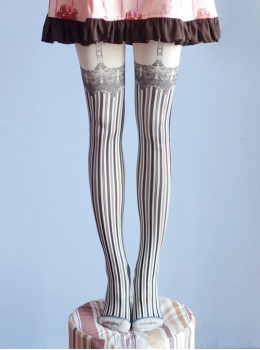 Sweet Gothic Milky White And Black Stripe False Sling Printing Lolita Pantyhose