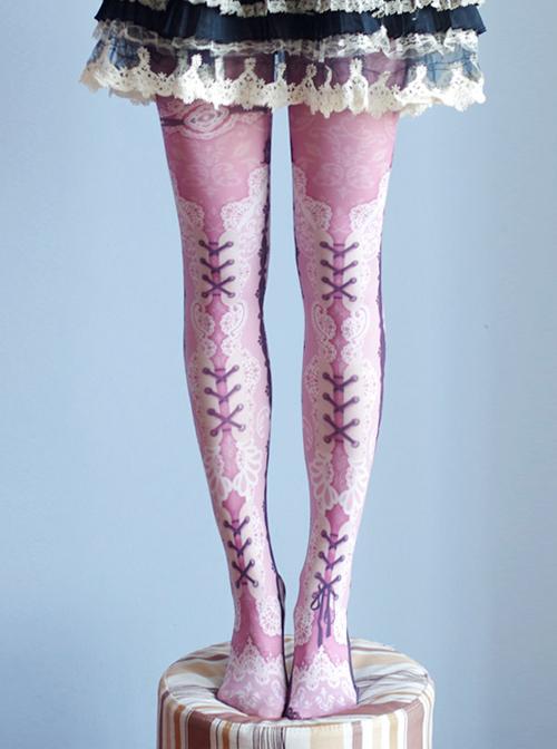 Lovely Lace Printing Lolita Pantyhose