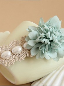 Mint Blue Flower Lace Pearl Lolita Hairpin