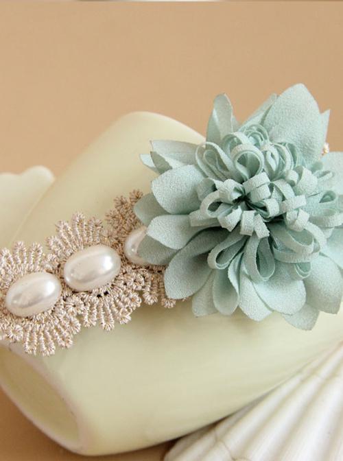 Mint Blue Flower Lace Pearl Lolita Hairpin