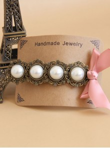Handmade Classical Pearls Pink Bowknot Lolita Hairpin