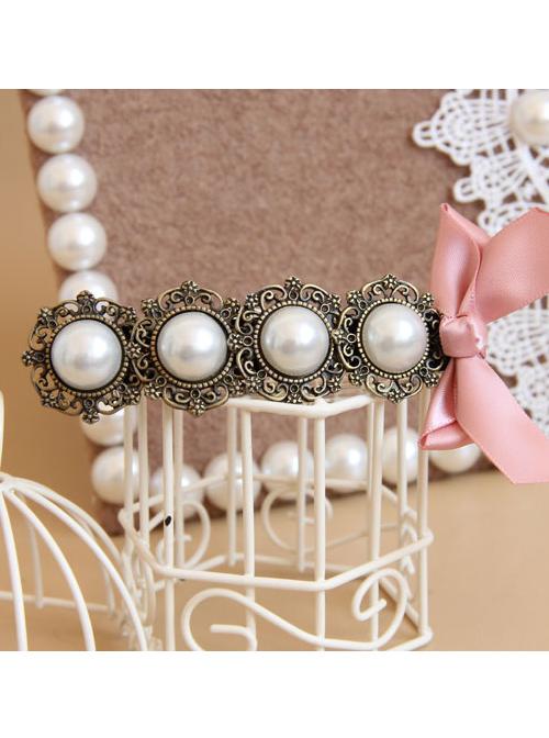 Handmade Classical Pearls Pink Bowknot Lolita Hairpin