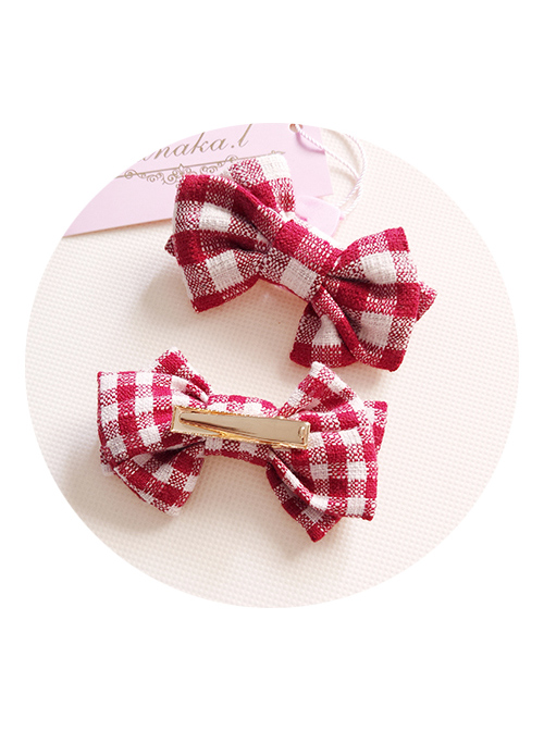Hand Made Fashion Red Lattices Bowknot Sweet Lolita Hairpins