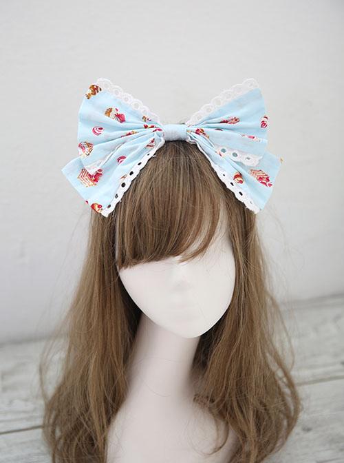 Fashion Strawberry Cupcake Printing Light Blue Sweet Lolita Headband