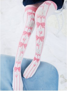 Fashion Pink Cute Bowknot Strawberry Stripes Printing Sweet Lolita Pantyhose