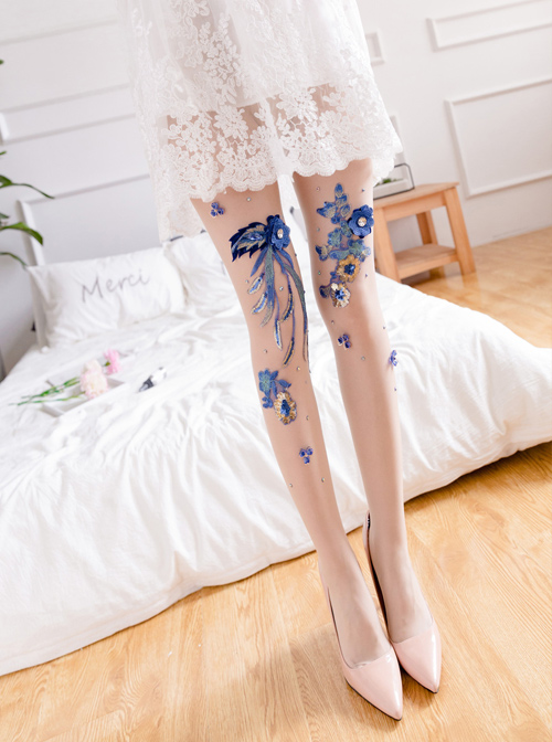 Fashion Blue-and-white Porcelain Series Embroidery Printing Handmade Decals Lolita 30D Pantyhose