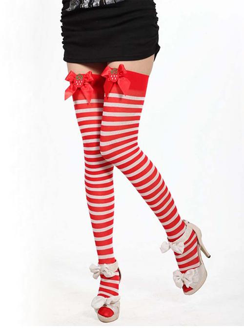 Retro Strawberry Bowknot Stripes Printing Lolita Knee Socks