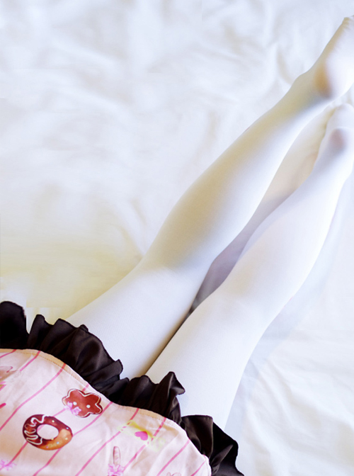 Fashion Lovely Bowknot And Strawberry Printing Sweet Lolita White Pantyhose