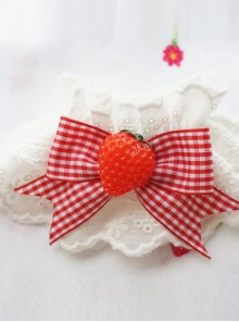 Fashion Plaids Bowknot Strawberry Sweet Lolita Hand Sleeves