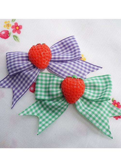 Fashion Plaids Bowknot Strawberry Sweet Lolita Hand Sleeves