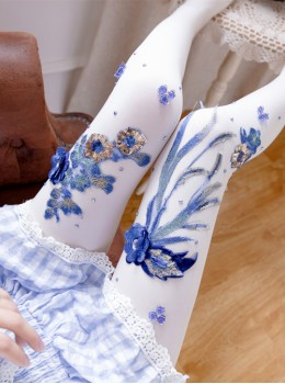 Fashion Blue-and-white Porcelain Series Embroidery Printing Handmade Decals Lolita 120D Pantyhose