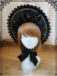 Starry Sky Bronzing Constellation Black Gothic Lolita Bonnet