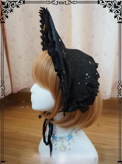 Starry Sky Bronzing Constellation Black Gothic Lolita Bonnet