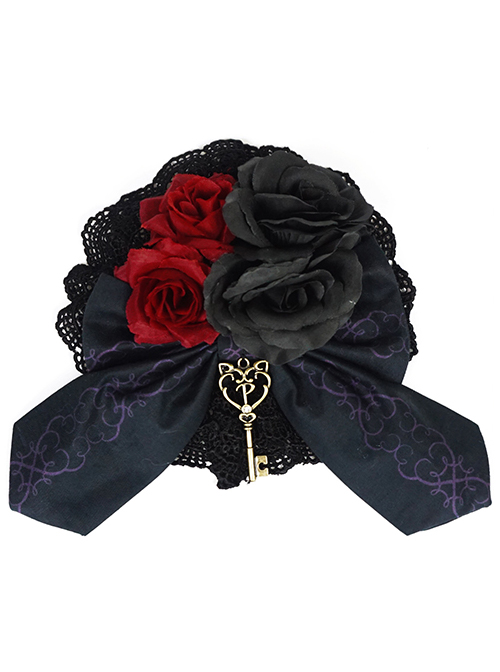 Beauty The Rose Series Flower And Key Pendant Gothic Lolita Hairpin