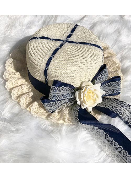 Cute Long Ribbon Bowknot White Lace Sweet Lolita Straw Hat