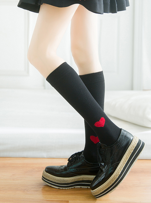 Pure Cotton The Heart-shaped Pattern Pure Color Stockings