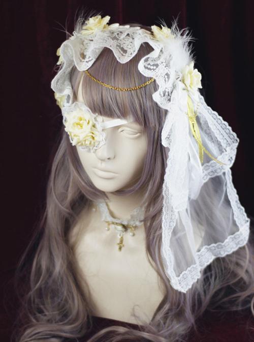 Retro Lace Cross Rose Gothic Lolita Headband